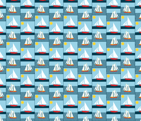 We are sailing fabric by linsart on Spoonflower - custom fabric
