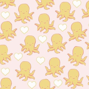 Cute Little Baby Octopus with Hearts