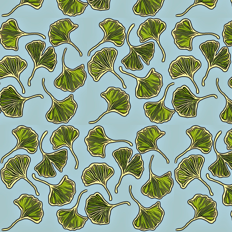 Tiny Ginkgo leaves fabric by lauriekentdesigns on Spoonflower - custom fabric