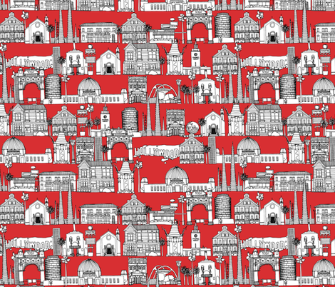 Los Angeles red fabric by scrummy on Spoonflower - custom fabric