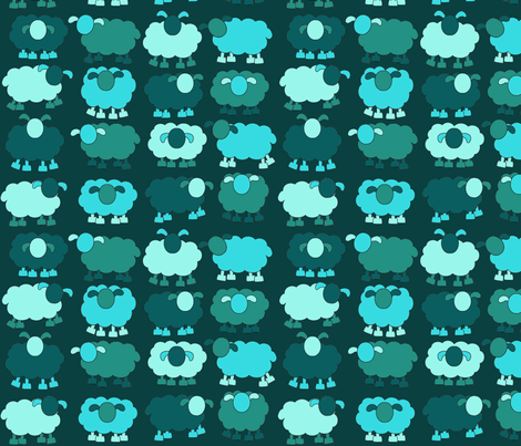 aqua sheeps fabric by engelbam on Spoonflower - custom fabric