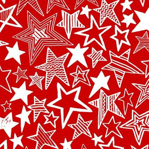 White patterned stars on red background