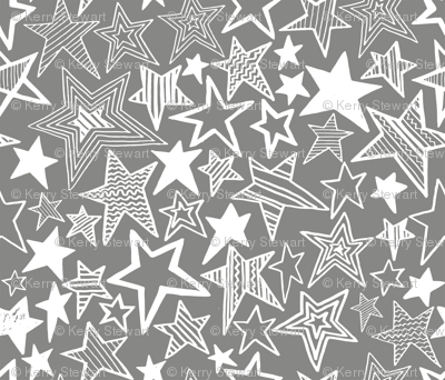 White patterned stars on grey background