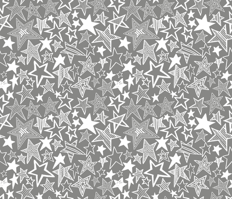 White patterned stars on grey background fabric by ladykerry on Spoonflower - custom fabric