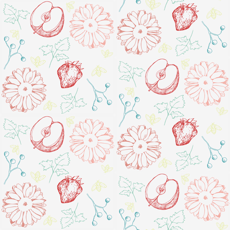Fruit and Flowers  fabric by countrygarden on Spoonflower - custom fabric