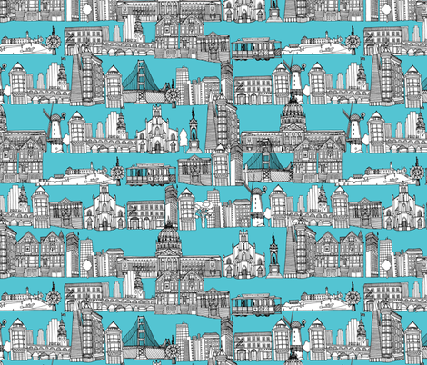 San Francisco blue fabric by scrummy on Spoonflower - custom fabric
