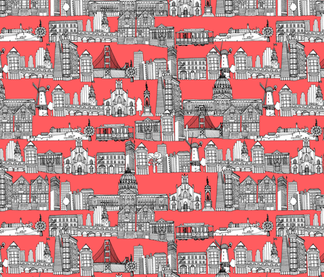 San Francisco coral fabric by scrummy on Spoonflower - custom fabric
