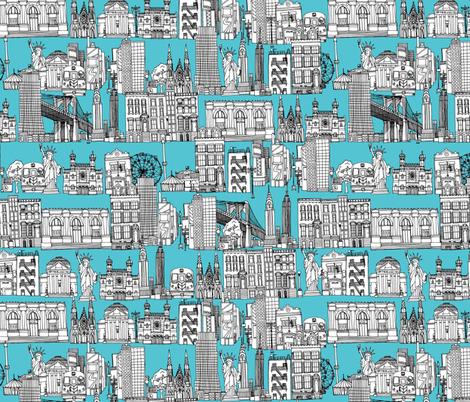 New York blue fabric by scrummy on Spoonflower - custom fabric