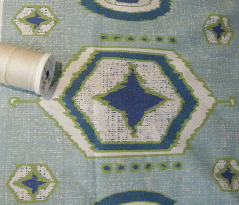 Hexagon Ikat in blues and green