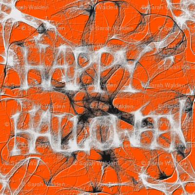 Happy Halloween Spider Web Charm Square