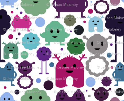 Monsters on the Loose - Pink, Blue, Greens