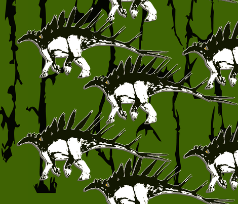 Kentrosaurus_-black_and_green fabric by teerymae on Spoonflower - custom fabric