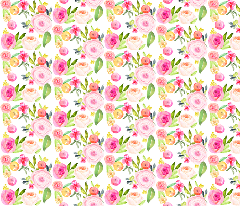 Spring Peonies, Roses, and Poppies fabric by theartwerks on Spoonflower - custom fabric