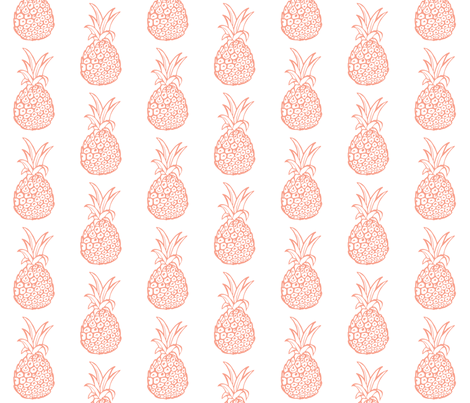 Pineapple Party in Coral and White fabric by theartwerks on Spoonflower - custom fabric