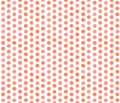 Watercolor Dots: Coral fabric by nadiahassan on Spoonflower - custom fabric