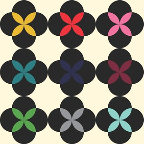 Rainbow Flower in Black