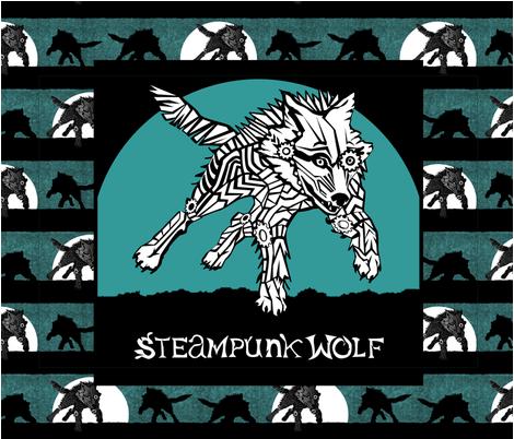 CUSTOM BANNER - Steampunk Wolf Logo fabric by glimmericks on Spoonflower - custom fabric