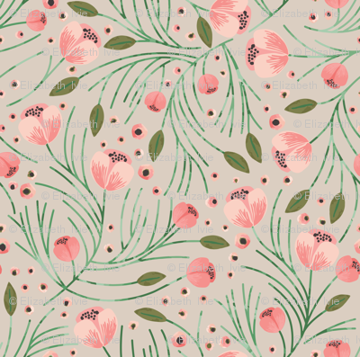 winter floral // pine on birch // extra small