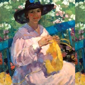 Lady knitting in a garden