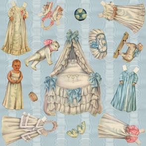 Edwardian Paper Doll Nursery ~ Blue