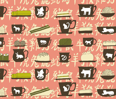 Zodiac tea tasting fabric by celebrindal on Spoonflower - custom fabric
