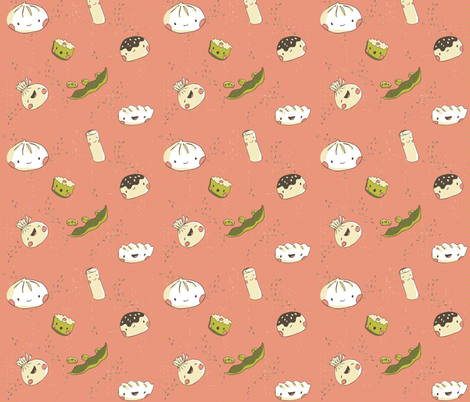 Dim Sum for my Tum! - pink fabric by pinky_wittingslow on Spoonflower - custom fabric