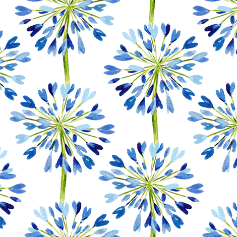 Heart Flower blue fabric by jillbyers on Spoonflower - custom fabric