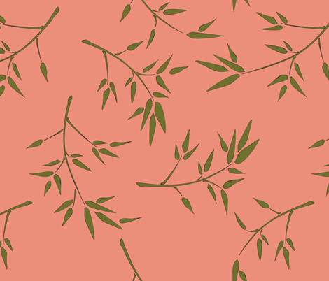 dim sum bamboo branches fabric by audsbodkin on Spoonflower - custom fabric