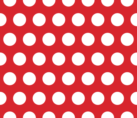 Polka Dot - White on Red XL fabric by juliesfabrics on Spoonflower - custom fabric