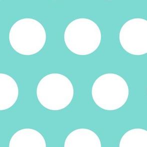 Polka Dot - White on Turquoise XL