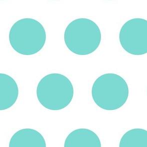 Polka Dot - Turquoise on White XL
