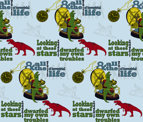 The Time Machine, Feat. T-Rex(s) fabric by yourfriendamy on Spoonflower - custom fabric