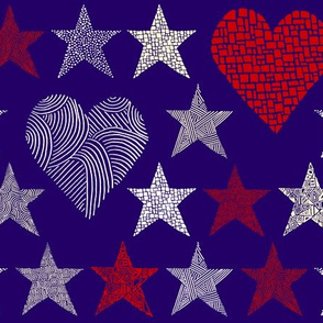 Abstract stars and large hearts, purple background