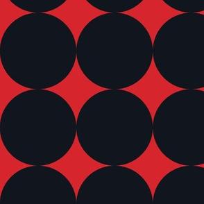 Polka Dot - Black on Red XXL