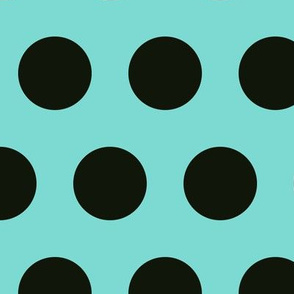 Polka Dot - Black on Turquoise XL