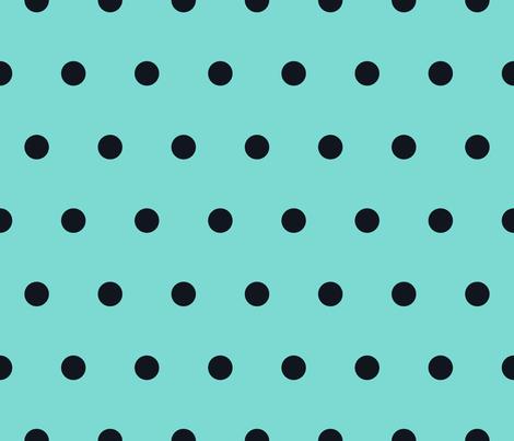 Polka Dot - Black on Turquoise fabric by juliesfabrics on Spoonflower - custom fabric