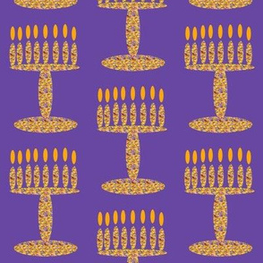 Menorah Rich Flower Girl on purple