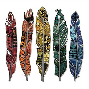 boho rainbow feathers 10 inch squares