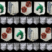 Attack on Titan Military and Wall Crests Black
