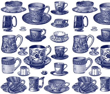 Nice Cuppa! ~ Blue  fabric by peacoquettedesigns on Spoonflower - custom fabric