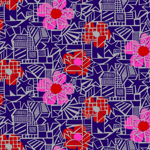 Flowers on abstract background - pink, red, purple on grey