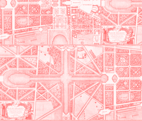 The Gardens of Versailles  ~ Pink fabric by peacoquettedesigns on Spoonflower - custom fabric