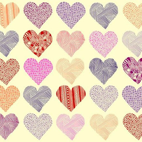 Hand drawn hearts - pink, purple, peach, red on cream