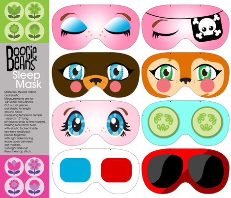 Fun face sleep masks fabric by kfay on Spoonflower - custom fabric