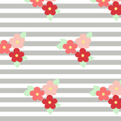 flowers and grey stripes