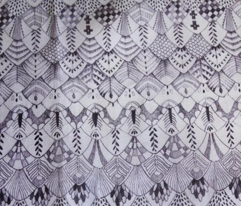 Tribal Owl Feathers Monochrome Dark