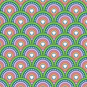 Hearts to the Max || pop Art Deco scallop stars scales marquee circles