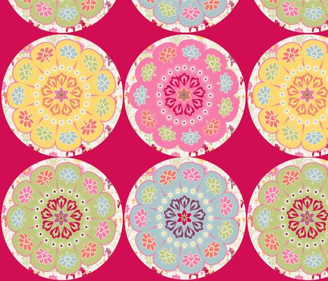 dala_horse_rond_fond_rouge_L fabric by nadja_petremand on Spoonflower - custom fabric