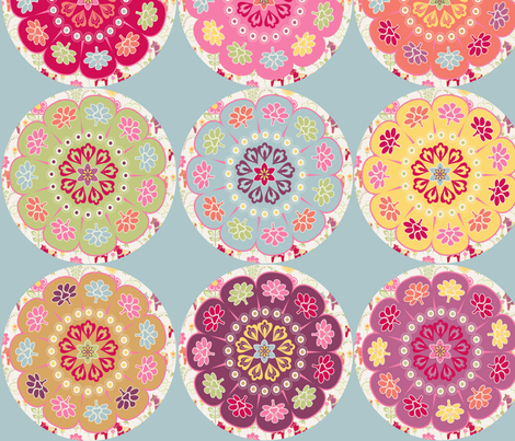 dala_horse_rond_fond_bleu_L fabric by nadja_petremand on Spoonflower - custom fabric