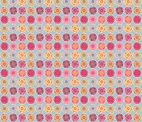 dala_horse_rond_fond_bleu_S fabric by nadja_petremand on Spoonflower - custom fabric